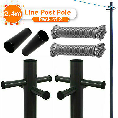 £54.87 • Buy 2.4M Galvanized Prop  Washing Line Post Pole Outdoor Indoor Clothes Laundry