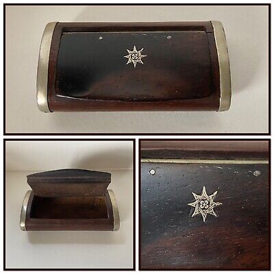 £35 • Buy Antique Wooden Inlaid Snuff Box Silver Metal Hinged Banded Edges Tobacciana
