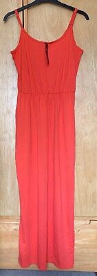 £7.99 • Buy BNWT M&S Collection Bright Orange Long 100% Cotton Maxi Summer Dress Size 12