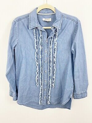 $ CDN39.92 • Buy Anthropologie Pilcro And The Letterpress Blue Chambray Shirt Size XS Cotton