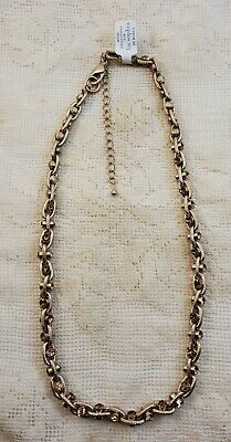 $ CDN9.67 • Buy Lia Sophia Gold Tone Braided Chain Link Necklace Amber Stones Double Clasp