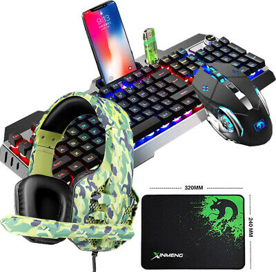AU79.89 • Buy Gmaing Keyboard Mouse And Headset Combo Wired RGB Backlit USB For PC Laptop PS4