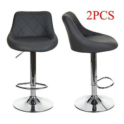 £80.99 • Buy 2X Bar Stools Leather Swivel Gas Lift Rest Chair Home Kitchen Pub Breakfast Seat