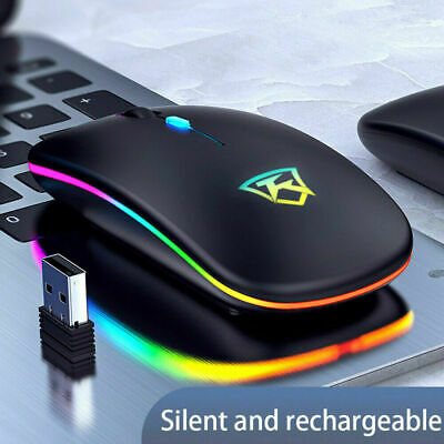 £11.99 • Buy Slim Wireless LED Light Mouse Rechargeable Cordless Mice For PC Laptop + USB
