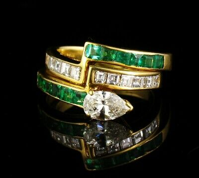 £1527.11 • Buy MAYORS SIGNED FINE NATURAL 1.80ctw COLOMBIAN EMERALD & DIAMOND 18K GOLD RING