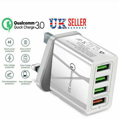 £5.40 • Buy 3Multi-Port Fast Quick Charge QC 3.0 USB HUB Mains Wall Charger Adapter UK Plug