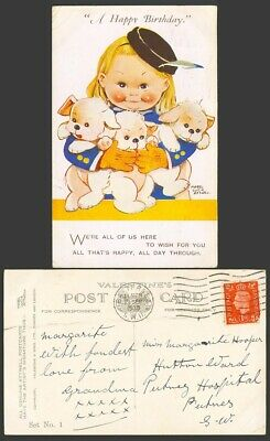 $11.03 • Buy MABEL LUCIE ATTWELL 1938 Old Postcard A Happy Birthday 3 Dogs Puppies, Set No. 1
