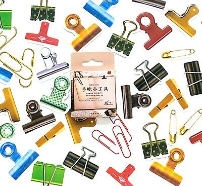 £2.99 • Buy PAPERCLIP STICKERS Paper Clip Scrapbook Journal Stationery Card Craft Decoration
