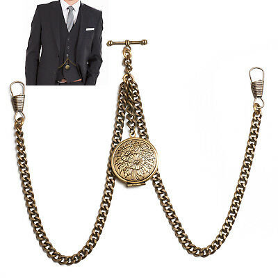 £9.99 • Buy Peaky Blinders Bronze Colour Double Albert Pocket Watch Fob Chain With Locket