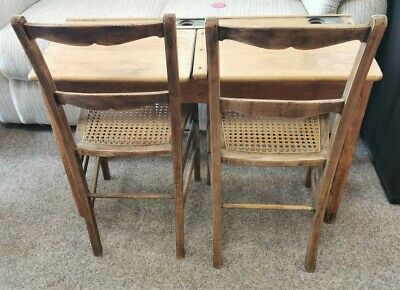 £60 • Buy Vintage Double School Desk With Chairs - Wooden, Lift Up Lids And Inkwells