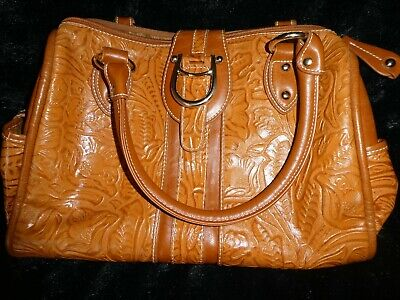$12.95 • Buy M.c. Tooled  Faux-  Leather  Brown  Purse 14  X  11   Gold Tone Hardware