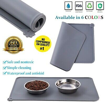 £5.59 • Buy Dog Food Mat Cat Pet Puppy Silicone Feeding Non Slip Pad Water Bowl Placement UK