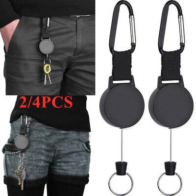 £4.79 • Buy 2/4Pcs Stainless Steel Keyring Key Chain Retractable Recoil Heavy Duty Pull Ring