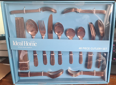 £28.98 • Buy Ideal Home Thick Heavy Copper/Rose Gold Colour Cutlery 48 Piece Set NEW Sealed