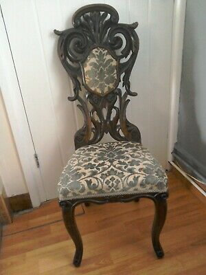 £125 • Buy Antique Chair Victorian Heavily Carved Walnut Ornate Hall Bedroom Upholstered