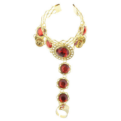 £3.21 • Buy Indian Belly Dance Bracelet With Finger Ring Wrist Bangle Crystal Jewelry Woman