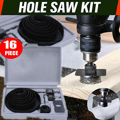 £9.59 • Buy 17HOLE SAW KIT SET 19-127mm HEAVY METAL CIRCLE CUTTER ROUND DRILL WOOD DOWNLIGHT