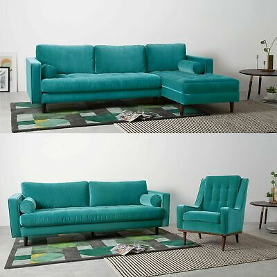 £599.99 • Buy Luxury Left-Hand Facing L-Shaped Couch Modern Large Velvet Sectional Sofa Green