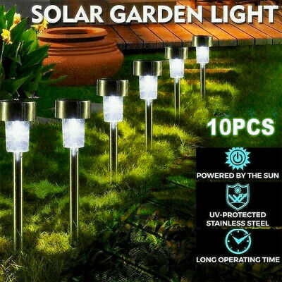 £11.98 • Buy 10pack White Led Solar Garden Marker Outdoor Stake Lights, Path, Boundary, Patio