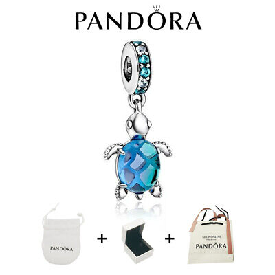 AU26.82 • Buy Authentic GENUINE PANDORA Ocean Murano Glass Sea Turtle Charm New With Pouch+BOX