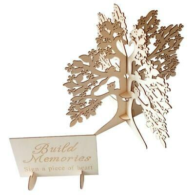 £9.55 • Buy Unique 3D Wishing Tree Wedding Guest Book Signature Sign With 50 Wood Hearts