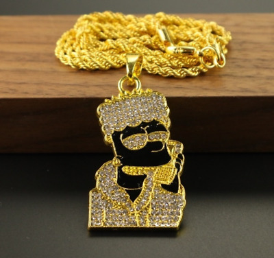 £14.99 • Buy Plug Pendant & Chain Silver Necklace Iced Out Bling Shiny Jewellery Diamond