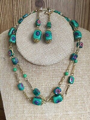 """$12 • Buy Millefiori Necklace  Earring Green Glass Barrel Clasp Chain Necklace 28"""""""