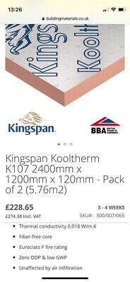 £700 • Buy Kingspan Kooltherm Insulation Boards 2400mm X 1200mm - 100mm & 120mm