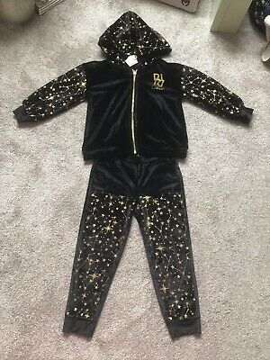 £15.99 • Buy Brand New River Island Girls Black Star Patterned Velour Track Suit Age 4-5 Year