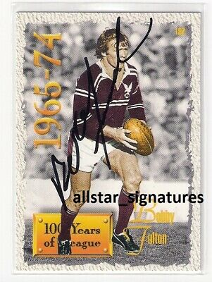 AU100 • Buy Signed Bobby Bob Fulton Manly 100 Years Player Of Decade 1995 Card Immortal Rare