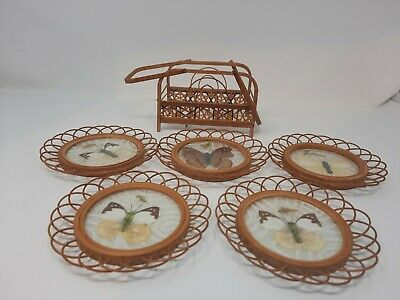 £16.99 • Buy Vintage Bamboo Wood Pressed Butterfly Drink Coasters Rattan Wicker Caddy Set 5