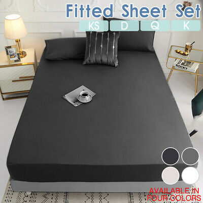 AU18.79 • Buy Deep Fitted Bed Sheet Pillowcases Set Ultra SOFT Double/Queen/King/King Single