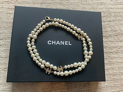 £1650 • Buy AUTHENTIC RARE Classic Chanel Gold Crystal Pearl Necklace Long