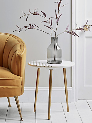 £84.99 • Buy Cox & Cox Decorative Marble Topped & Inlaid Brass Side Table - RRP £150