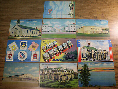 $27.98 • Buy CAMP RUCKER AL - Linen Postcard Lot Of 10 - WWII Army Training Alabama Fort Ft
