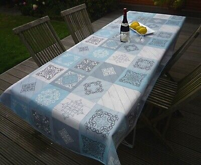 £22.56 • Buy Tablecloth Provence 150x240 CM Oval Blue Grey France Easy-Care Non-Iron