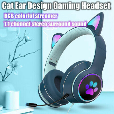AU35.78 • Buy Virtual 7.1 Wired Cat Ear Gaming Headset With Microphone Foldable AKZ-022