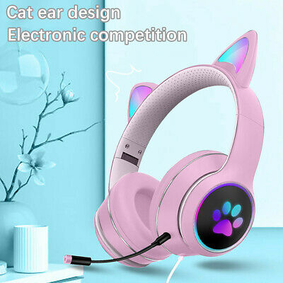 AU34.79 • Buy RGB Virtual 7.1 Wired Cat Ear Gaming Headset With Microphone Foldable AKZ-022
