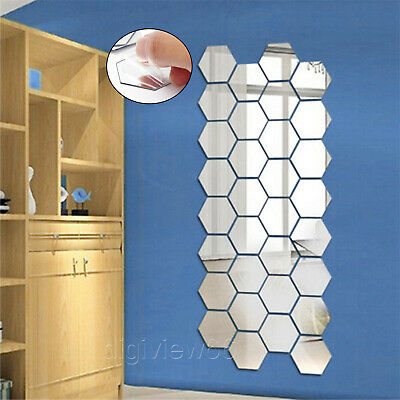 £4.04 • Buy 36X 3D Mirror Tiles Mosaic Wall Stickers Self Adhesive Bedroom Art Decal Home