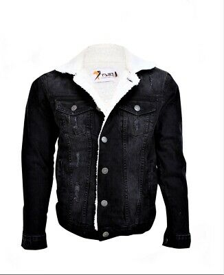 £17.99 • Buy New Men Denim Jeans Jacket With White  Fur And Elastic Cuffs Coat