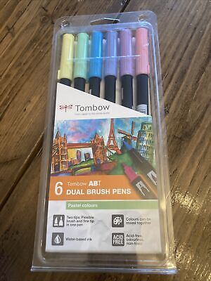 £12.99 • Buy Tombow ABT Dual Brush Pens With 2 Tips Assorted Pastel Colours (Pack Of 6)