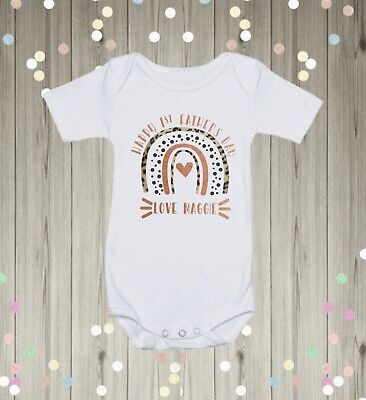 £7.49 • Buy Personalised Happy 1st Fathers Day Baby Vest Baby Grow First Keepsake Dad Gift