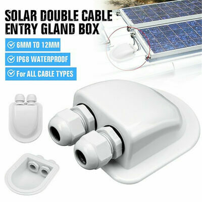 £7.49 • Buy Roof Cable Entry Gland White Solar Panels Double Cable Gland Box Waterproof
