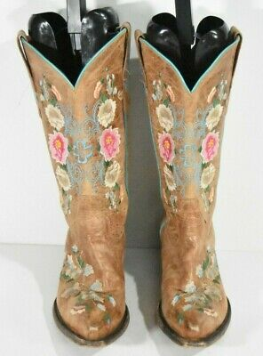 $74.99 • Buy Macie Bean Floral Womens 7 M M8012 Brown Snip Toe Leather Classic Cowboy Boots