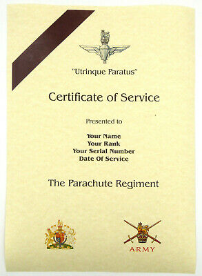 £9.99 • Buy The Parachute Regiment Personalised Luxury Certificate Of Military Service.