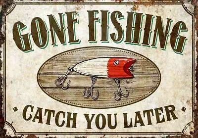 £8.50 • Buy Retro Fishing Sign Gone Fishing Catch You Later Metal Sign A4 Or A5