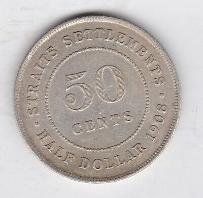£80 • Buy 1908 Straits Settlements Silver 50 Cents In Near Extremely Fine Condition