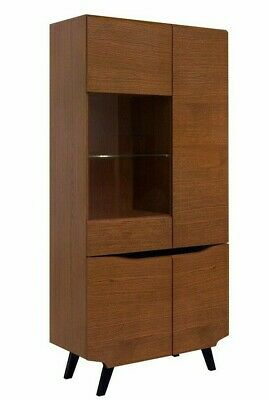 £399.95 • Buy Retro 4 Door Tall Glass Display Cabinet LED Brown Oak Style Storage Unit Madison
