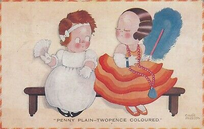 £4.50 • Buy Two Young Girls Sitting Out At The Dance Art Deco CHLOE PRESTON  1929