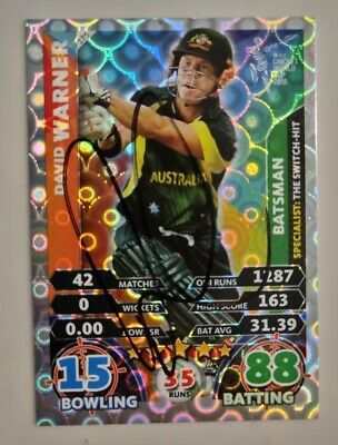 AU34.90 • Buy Dave Warner Cricket Signed In Person World Cup Attax Card  Buy Genuine  David
